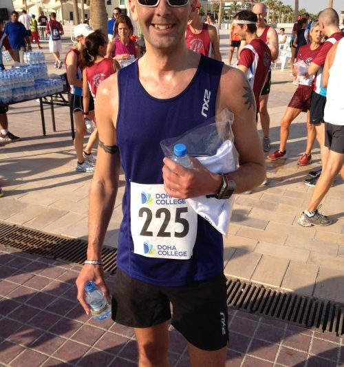 Stuart Hart successfully completes the Doha College 10K Race